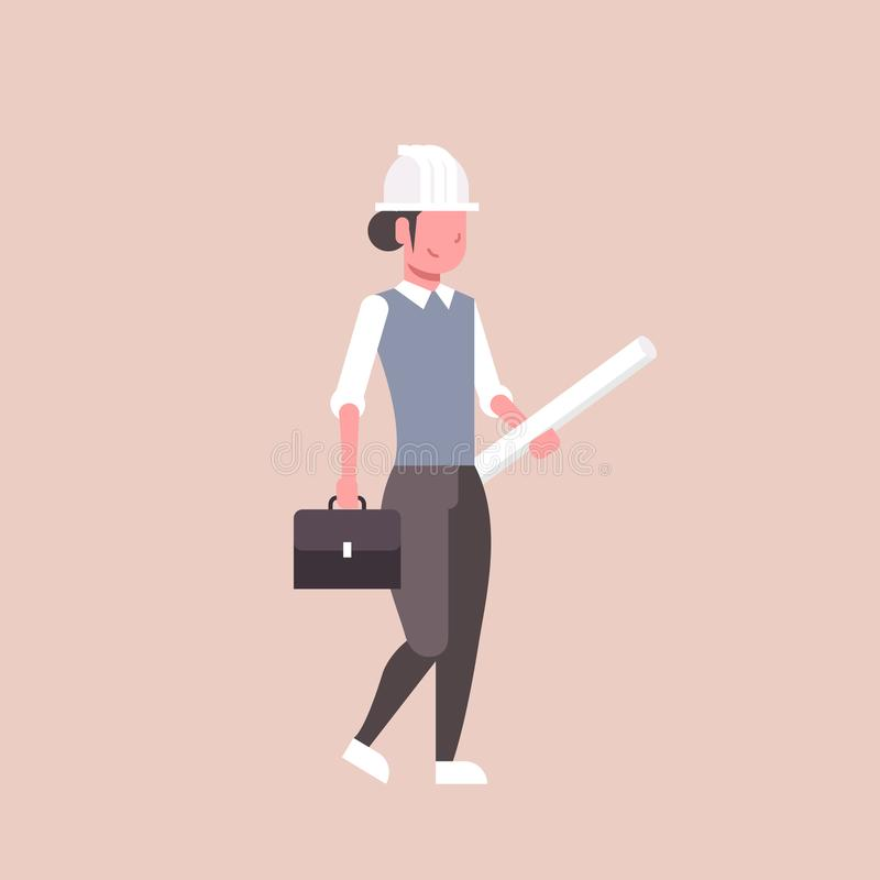 El arquitecto de la mujer en la tenencia del casco rodó encima de sector de la construcción femenino feliz del proyecto de la tom libre illustration