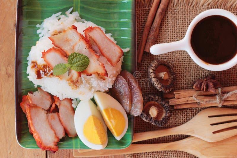 El arroz asado del cerdo con salsa es delicioso fotos de archivo