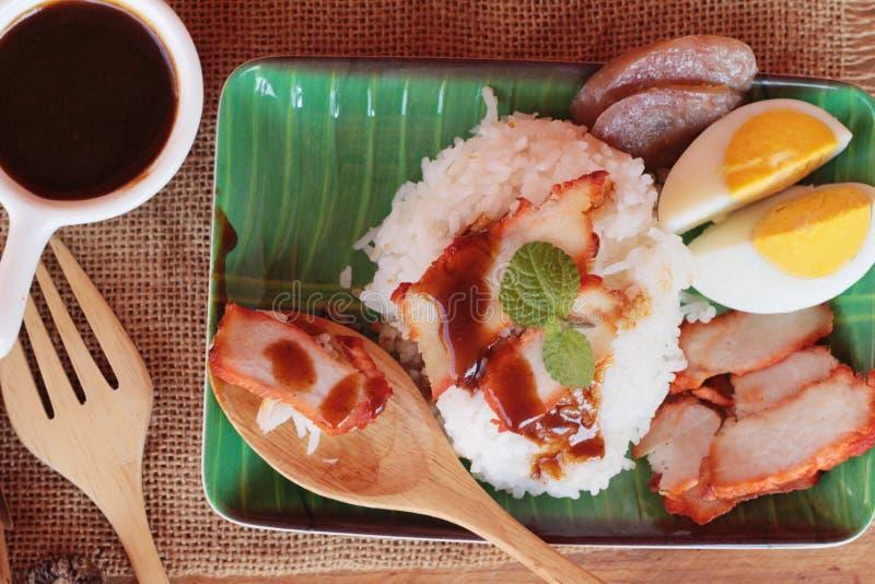El arroz asado del cerdo con salsa es delicioso imágenes de archivo libres de regalías