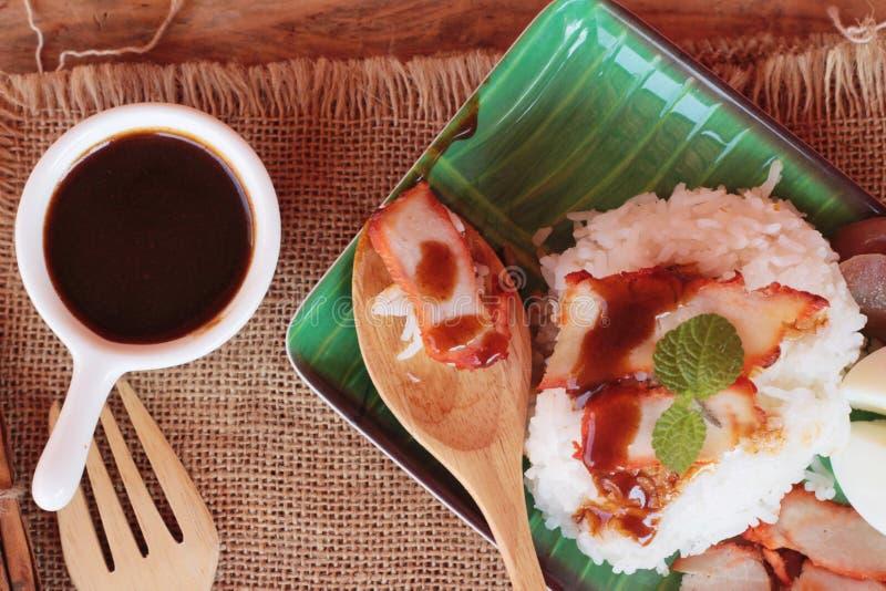 El arroz asado del cerdo con salsa es delicioso imagen de archivo libre de regalías