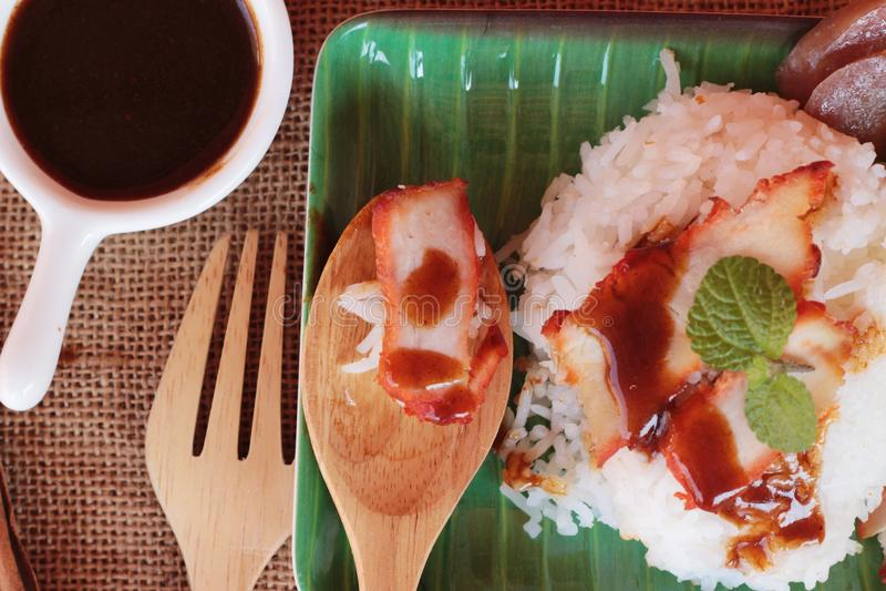 El arroz asado del cerdo con salsa es delicioso fotos de archivo libres de regalías