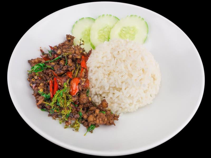 El arroz remató con cerdo caliente y picante sofrito con la albahaca aislada en el fondo negro imagen de archivo libre de regalías
