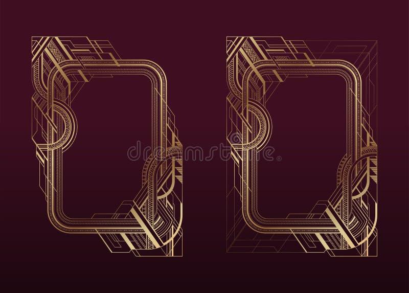 El art déco del oro enmarca el sistema en el fondo oscuro de Borgoña libre illustration