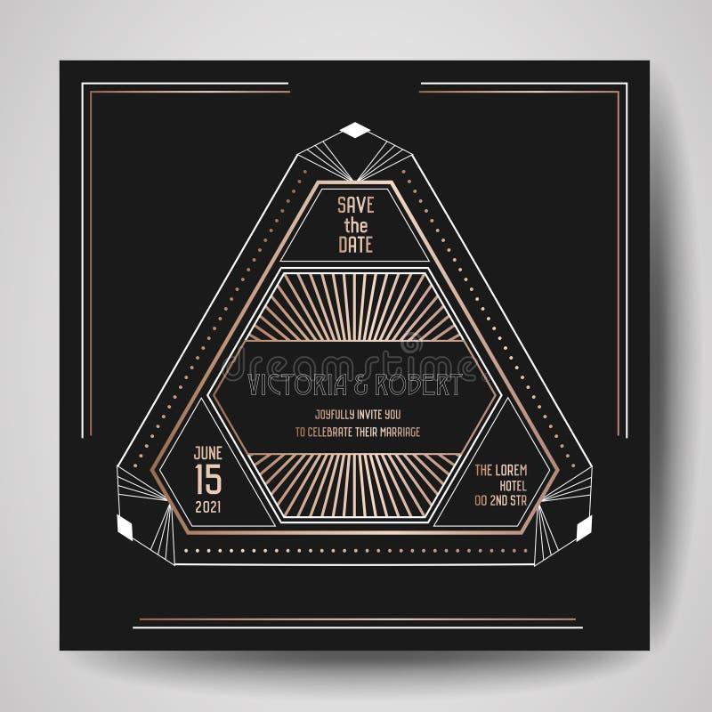 El art déco que se casa la invitación, de lujo ahorra la tarjeta de fecha con el marco geométrico del oro cubierta de moda, carte stock de ilustración