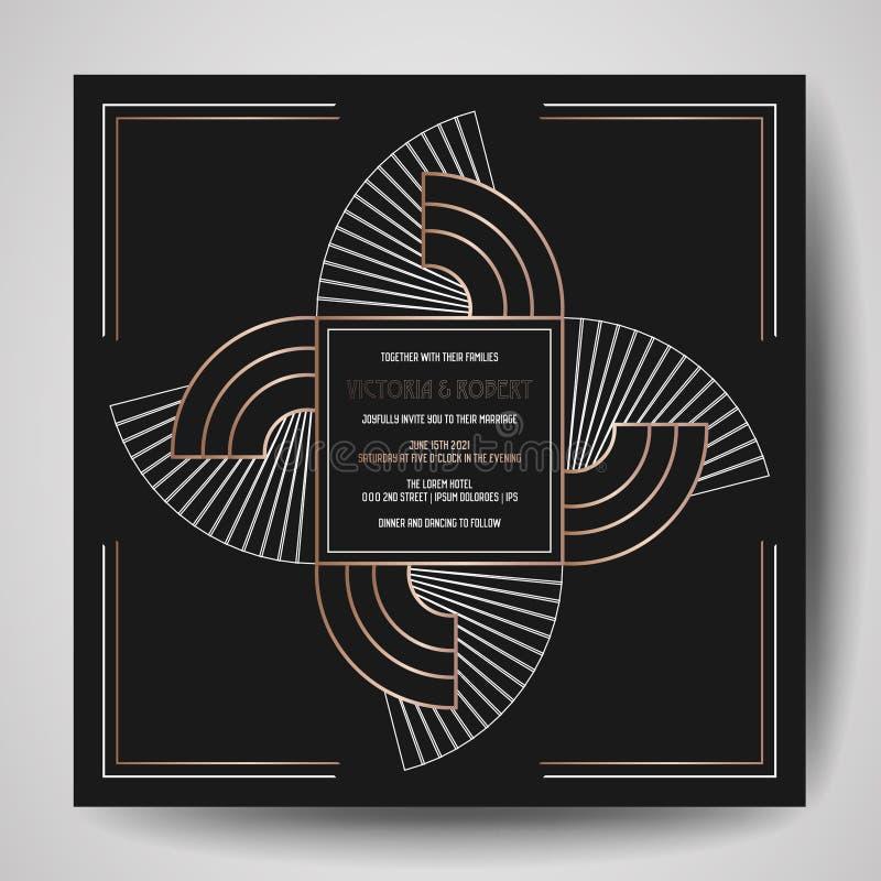 El art déco que se casa la invitación, de lujo ahorra la tarjeta de fecha con el marco geométrico del oro cubierta de moda, carte ilustración del vector