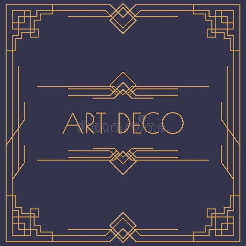 El art déco y la invitación árabe cardan forma cuadrada de la plantilla con la línea estilo de color oro del marco ilustración del vector