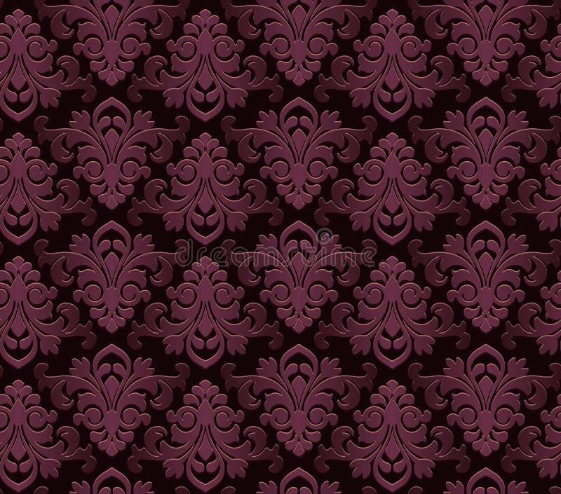 El art nouveau del damasco del papel pintado del estilo del vintage adorna el fondo coloreado textura inconsútil de los elementos stock de ilustración