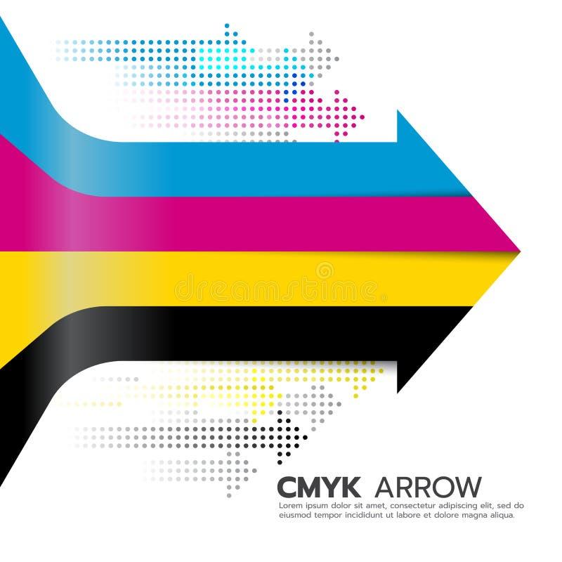 El arte (ciánico y magenta y amarillo y dominante o negro) de la línea de la flecha de CMYK y del vector de la flecha del punto d stock de ilustración