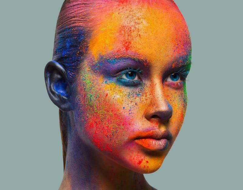 El arte creativo de compone, retrato del primer del modelo de moda fotos de archivo libres de regalías