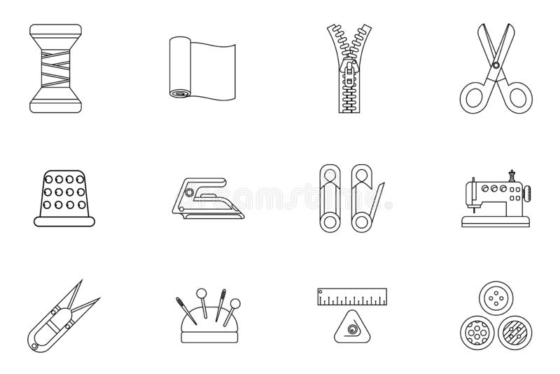 El arte de costura de la adaptación del paño de las herramientas de Lineart cose el ejemplo aislado aislado diseño plano del vect stock de ilustración