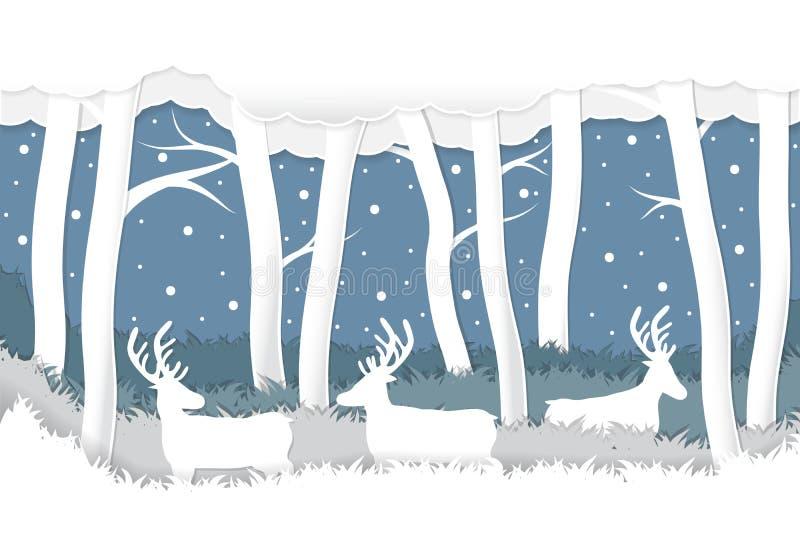 El arte de papel cortó ciervos en fondo del bosque del invierno de la nieve libre illustration