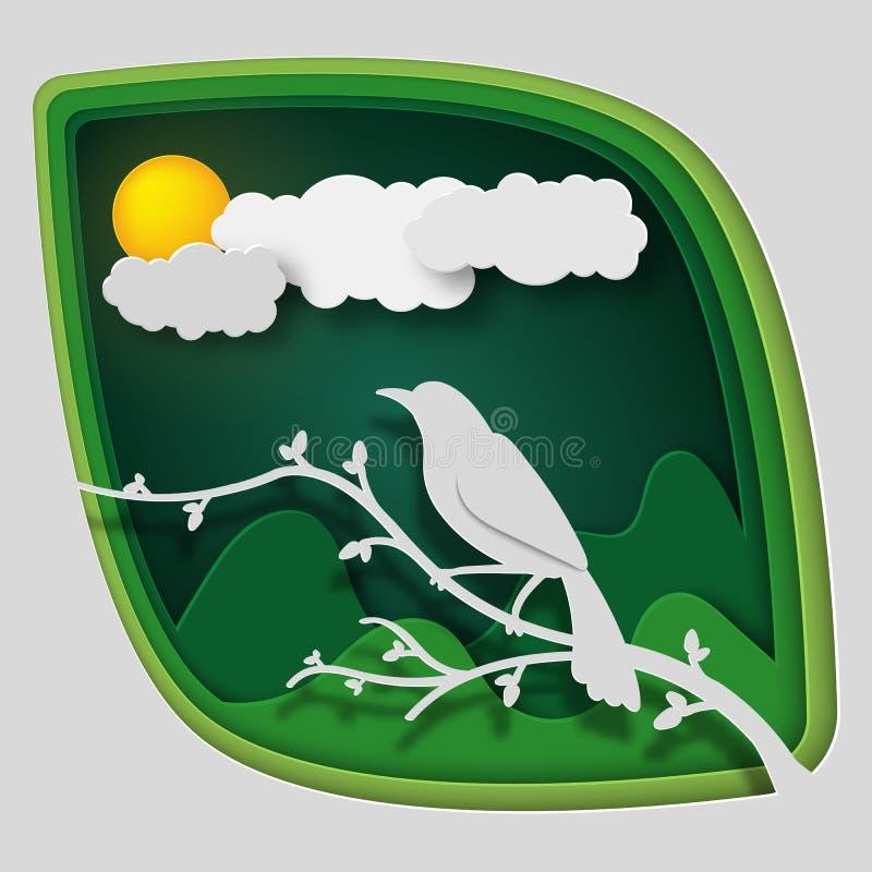 El arte de papel talla al pájaro en rama de árbol en bosque en la noche, la naturaleza y los animales idea, arte del concepto de  imagen de archivo