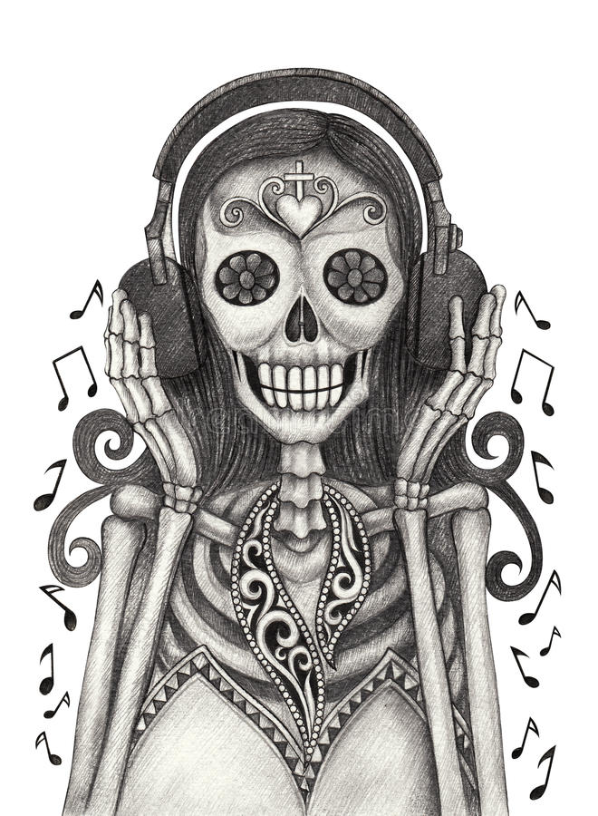 El arte del cráneo escucha el día de la música de los muertos stock de ilustración
