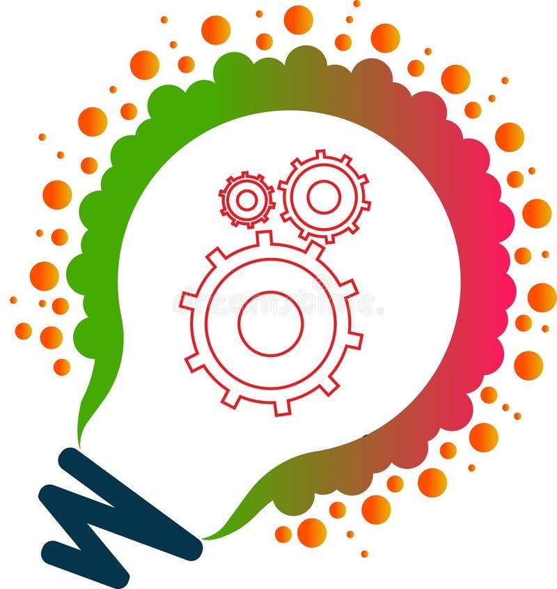 El arte del ejemplo de millón de logotipos ligeros de la lámpara del engranaje y la mente adaptan con el fondo ilustración del vector