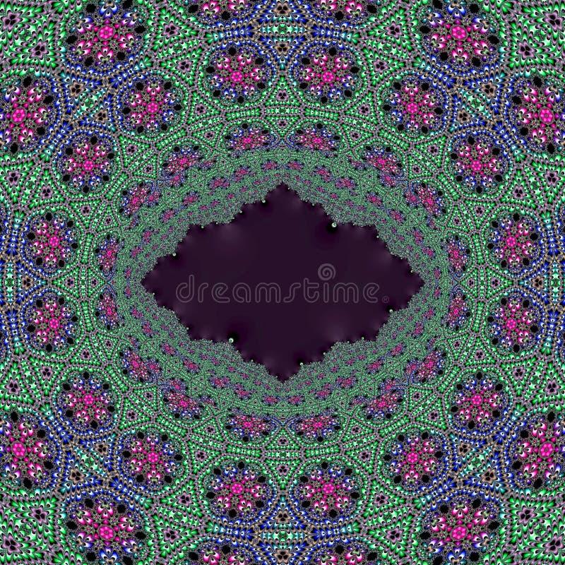 El arte del fractal florece verde, rosa y el azul con el espacio negro de la copia en el centro ilustración del vector