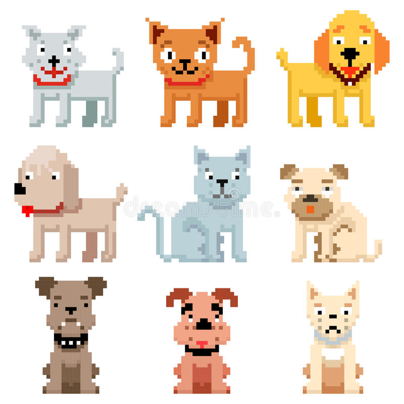 El arte del pixel acaricia iconos 8 vectores de los perros y de los gatos del pedazo stock de ilustración