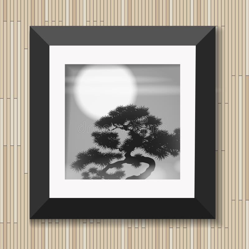 El arte gráfico de la pintura japonesa en marco con el pino y la luna en fondo de madera vector el ejemplo ilustración del vector