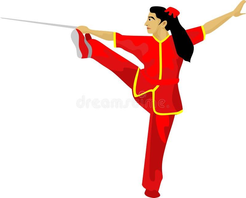 El arte marcial chino de la muchacha de Wushu de la espada ilustración del vector