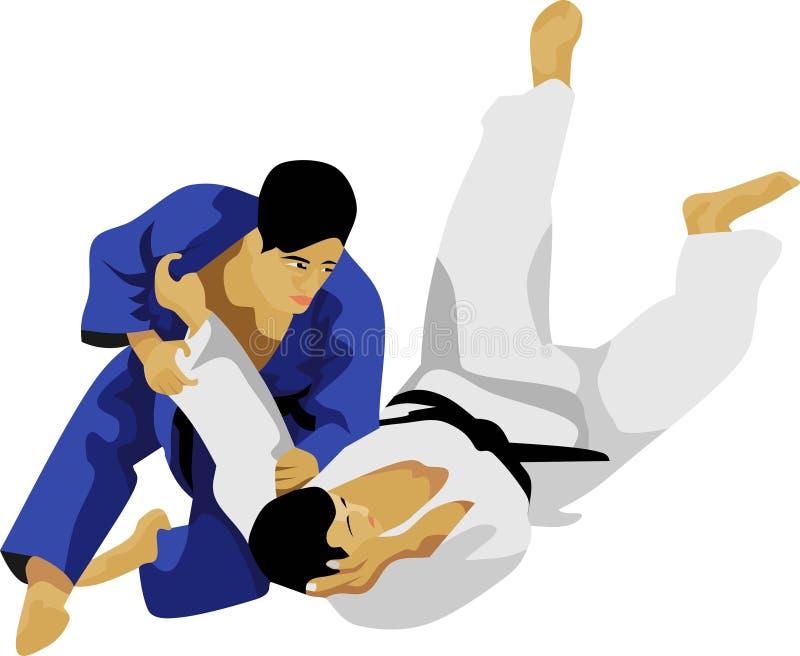 El arte marcial japonés de la lucha del judo stock de ilustración