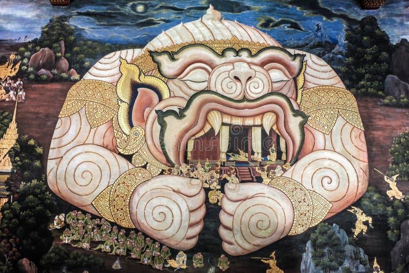 El arte tailandés tradicional de Ramayana, Hanuman guarda Rama en su boca imagen de archivo