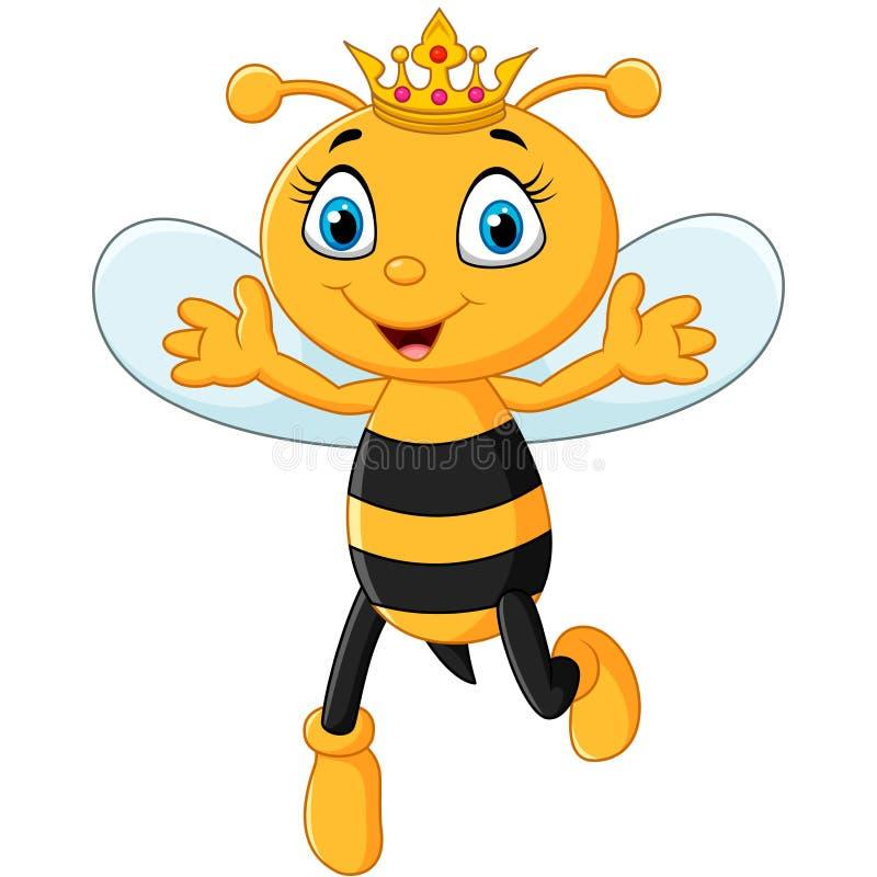 El ascendente de la mano linda de la abeja reina aislado en el fondo blanco libre illustration