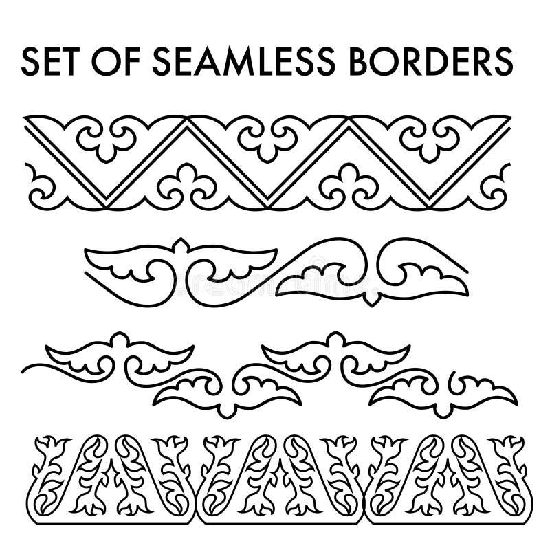 El asiático adorna la colección Históricamente ornamental de la gente nómada stock de ilustración