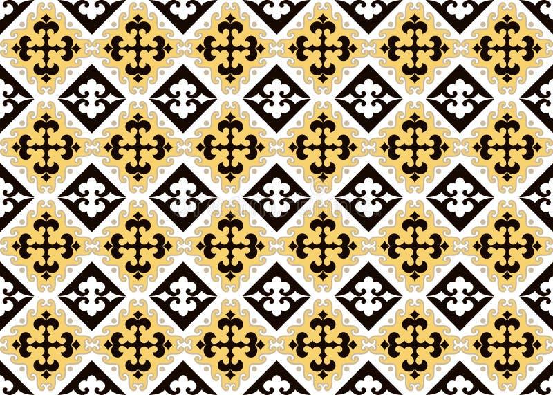 El asiático adorna la colección Históricamente ornamental de la gente nómada Basó en las alfombras del real-Kazakh del fieltro y  ilustración del vector