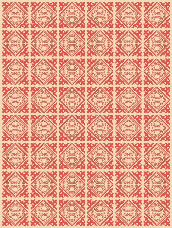 El asiático adorna la colección Históricamente ornamental de la gente nómada Basó en las alfombras del real-Kazakh del fieltro y  libre illustration
