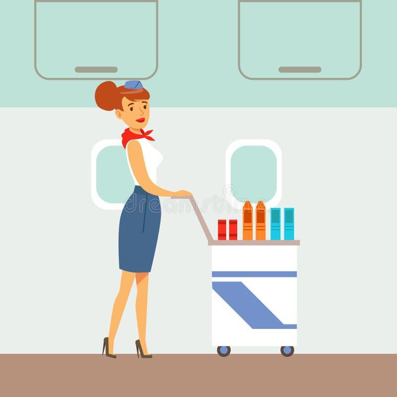 El asistente de vuelo Serving Drinks On un avión, parte de gente que toma diverso transporte mecanografía la serie de escenas de  libre illustration