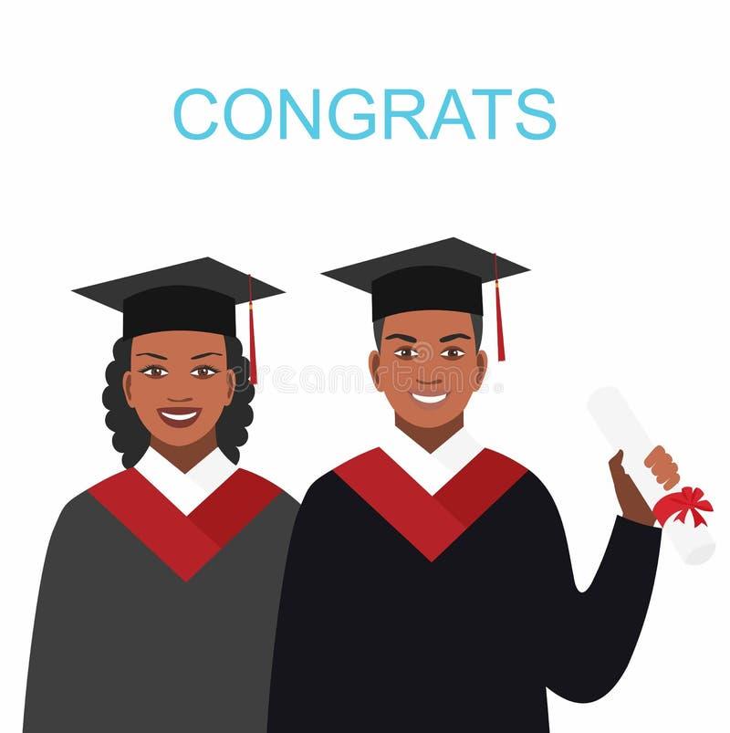 El aspecto afroamericano de la muchacha y del muchacho gradúa en vestidos libre illustration