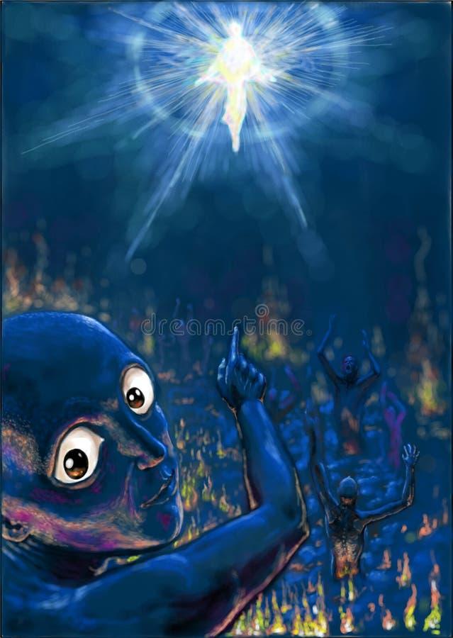 El aspecto de dios a los pecadores stock de ilustración