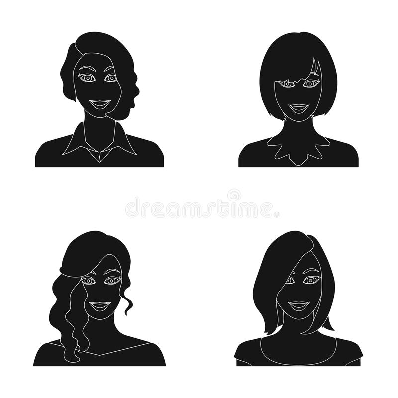 El aspecto de una mujer con un peinado, la cara de una muchacha Cara e iconos determinados de la colección del aspecto en estilo  stock de ilustración