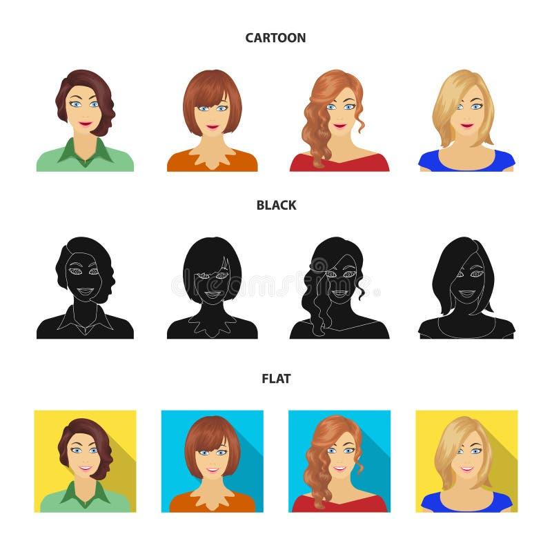 El aspecto de una mujer con un peinado, la cara de una muchacha Cara e iconos determinados de la colección del aspecto en la hist libre illustration
