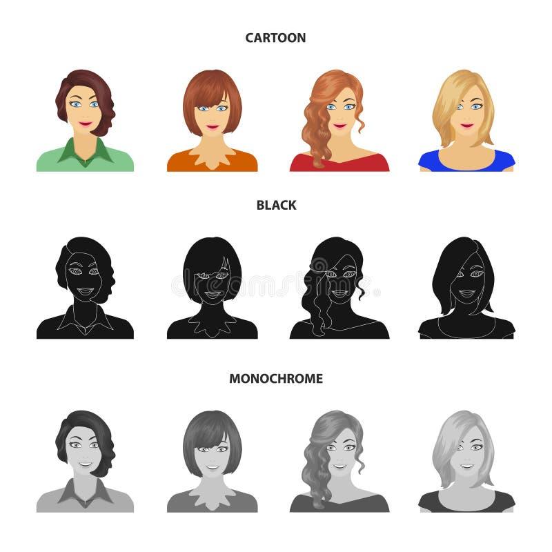 El aspecto de una mujer con un peinado, la cara de una muchacha Cara e iconos determinados de la colección del aspecto en la hist ilustración del vector