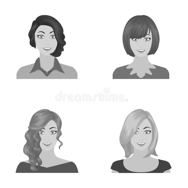 El aspecto de una mujer con un peinado, la cara de una muchacha Cara e iconos determinados de la colección del aspecto en monocro libre illustration
