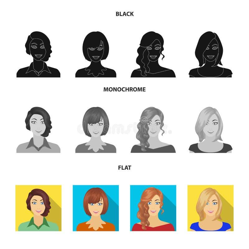 El aspecto de una mujer con un peinado, la cara de una muchacha Cara e iconos determinados de la colección del aspecto en el negr ilustración del vector