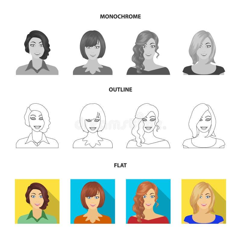 El aspecto de una mujer con un peinado, la cara de una muchacha Cara e iconos determinados de la colección del aspecto en el plan libre illustration