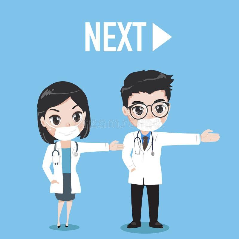 El aspecto del doctor y del doctor de la mujer es vuelta siguiente libre illustration