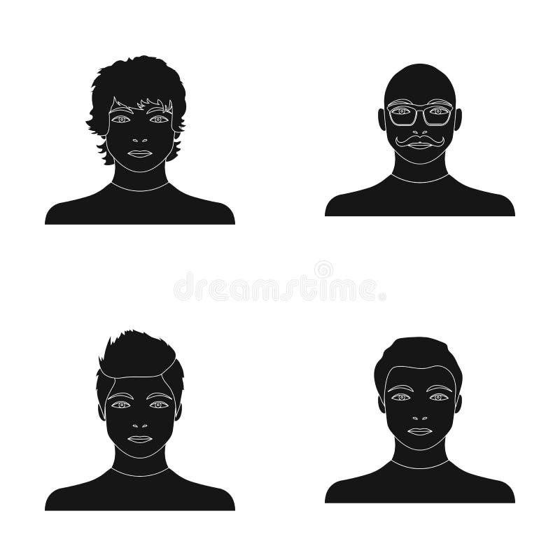 El aspecto del individuo joven, la cara de un hombre calvo con un bigote en sus vidrios Cara y sistema del aspecto libre illustration