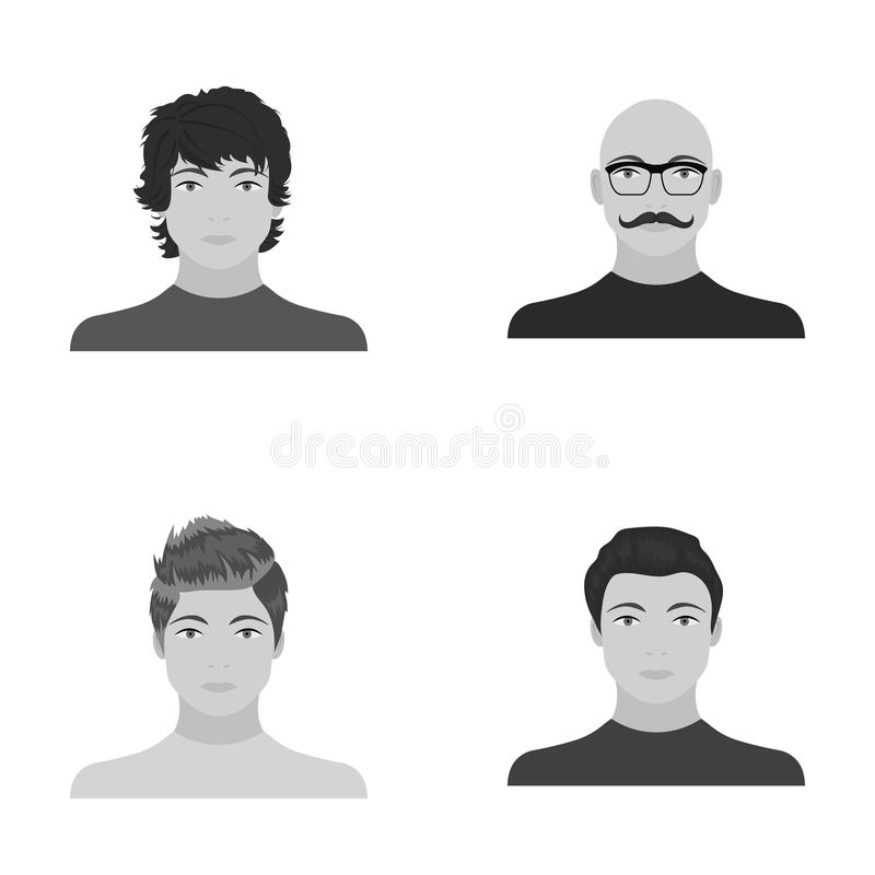 El aspecto del individuo joven, la cara de un hombre calvo con un bigote en sus vidrios Cara y sistema del aspecto ilustración del vector