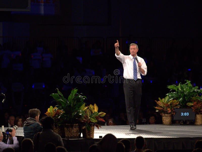El aspirante a presidente Democratic Martin O'Malley habla en Des Moines, Iowa fotografía de archivo