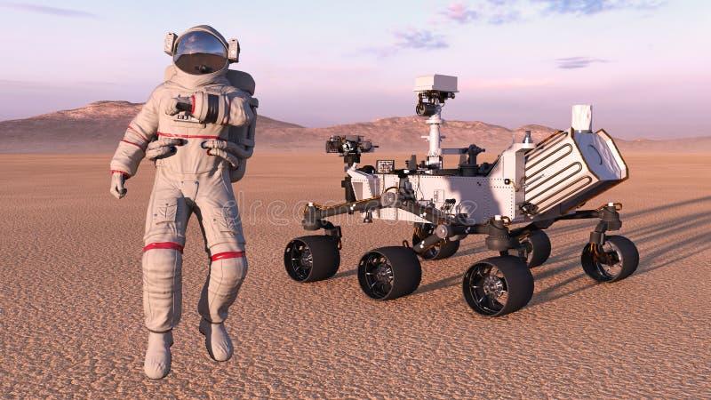 El astronauta con estropea al vagabundo, cosmonauta al lado del vehículo autónomo en un planeta abandonado, 3D del espacio robóti ilustración del vector