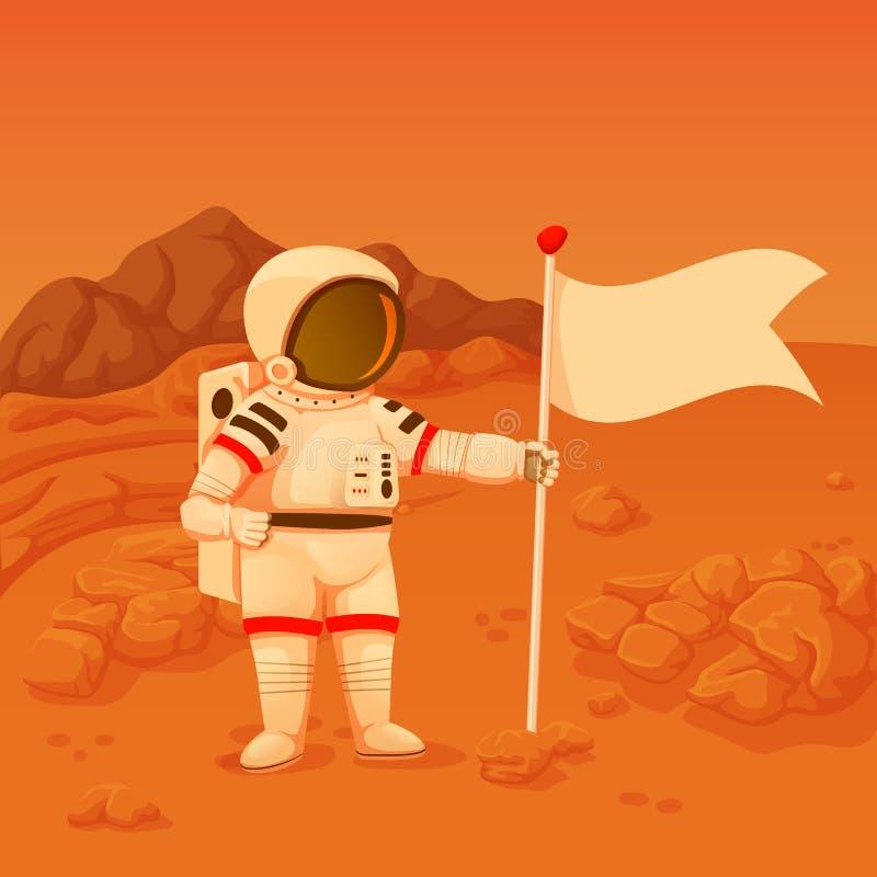 El astronauta con una colocación en jarras del brazo en estropea la superficie que sostiene una bandera ilustración del vector
