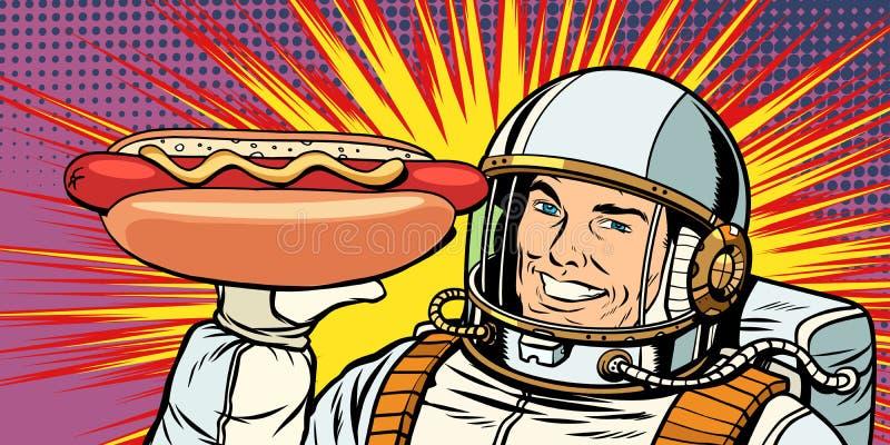 El astronauta de sexo masculino sonriente presenta la salchicha del perrito caliente ilustración del vector