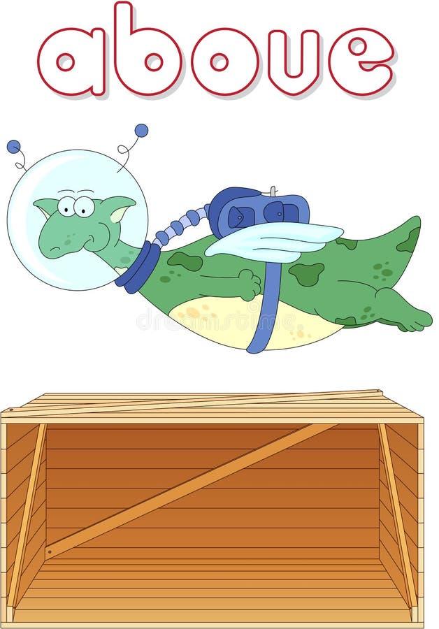 El astronauta del dragón de la historieta vuela sobre la caja Gramática inglesa ilustración del vector
