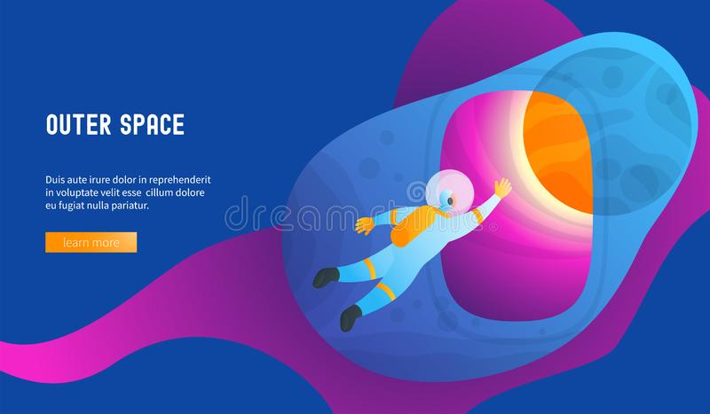 El astronauta entra espacio exterior stock de ilustración