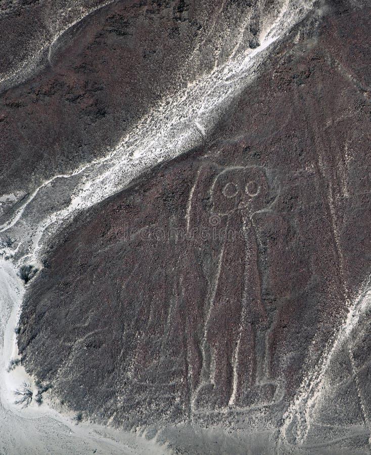 El astronauta es visible del desierto de Nazca fotos de archivo libres de regalías