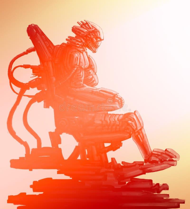 El astronauta extranjero se sienta en traje en su trono del hierro Ejemplo de la ciencia ficción stock de ilustración