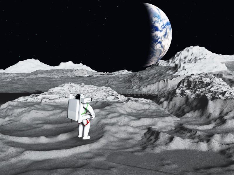 El astronauta lunar ve la tierra ilustración del vector