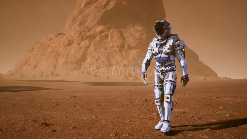 El astronauta pasa en la superficie de Marte a través de una tormenta del polvo más allá de los paneles solares gigantes Paisaje  libre illustration
